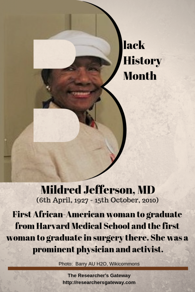 Black History Month - Dr. Mildred Jefferson. The Researcher's Gateway