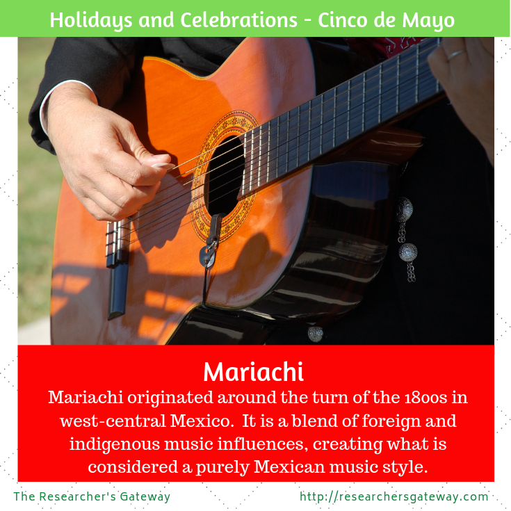 Mariachi is a popular form of Mexican Folk music found at many Cinco de Mayo celebrations.