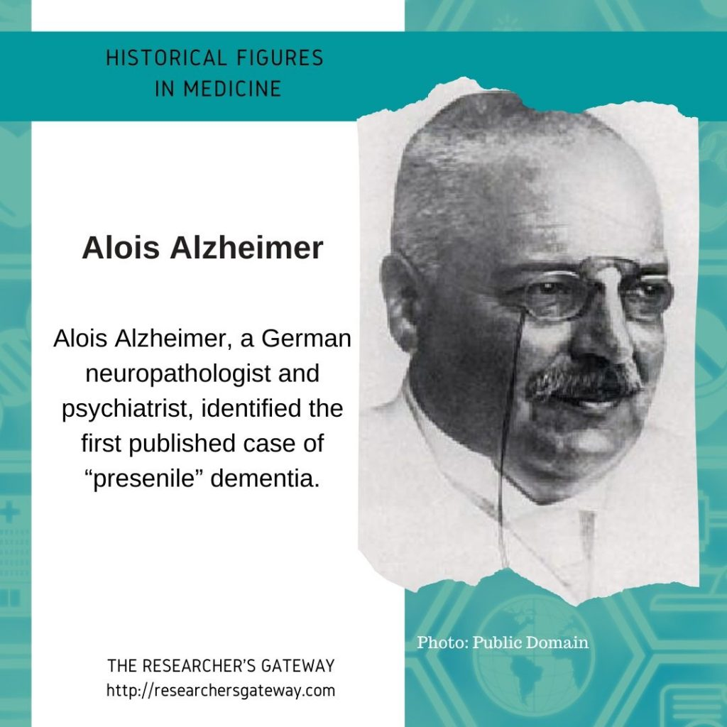 Alois Alzheimer  at The Researcher's Gateway and Famous Medical Figures
