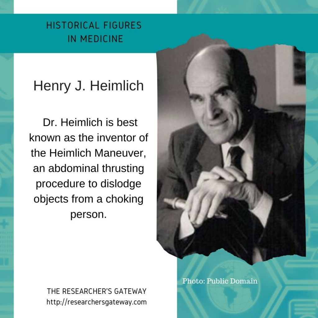 Henry Heimlich  at The Researcher's Gateway and Famous Medical Figures