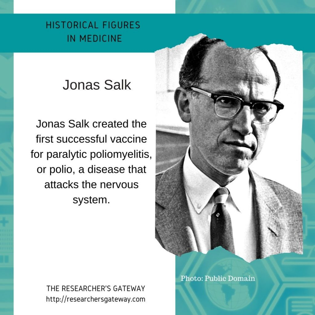 Jonas Salk, creator of the polio vaccine  at The Researcher's Gateway and Famous Medical Figures