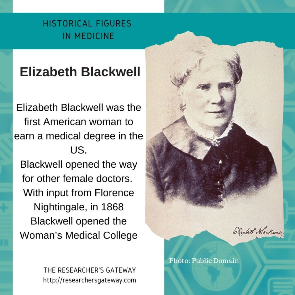 Elizabeth Blackwell was the first American woman to earn a medical degree in the US.