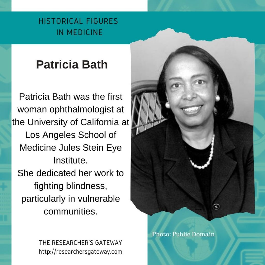 Patricia Bath, the first woman ophthalmologist at the University of California at Los Angeles School of Medicine Jules Stein Eye Institute.