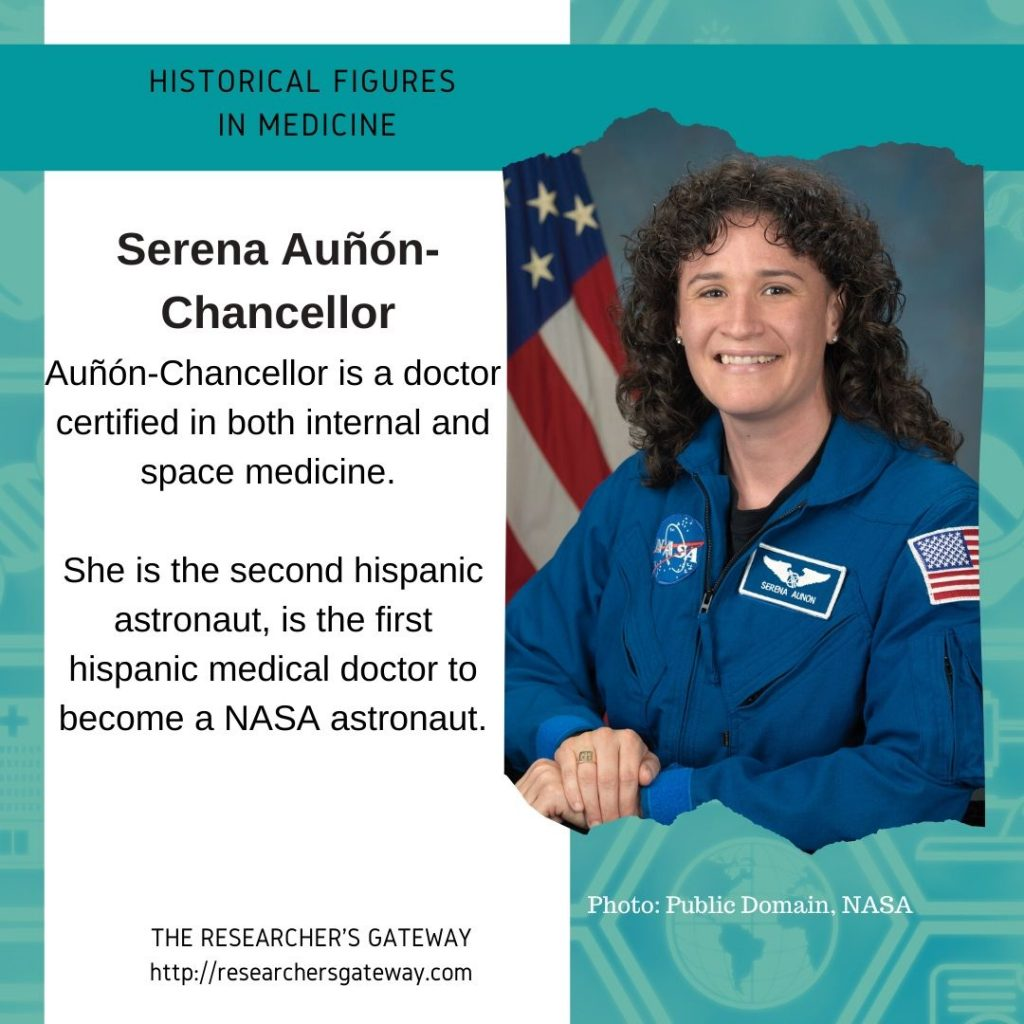 Serena Auñón-Chancellor, the second hispanic astronaut, is the first hispanic medical doctor to become a NASA astronaut.