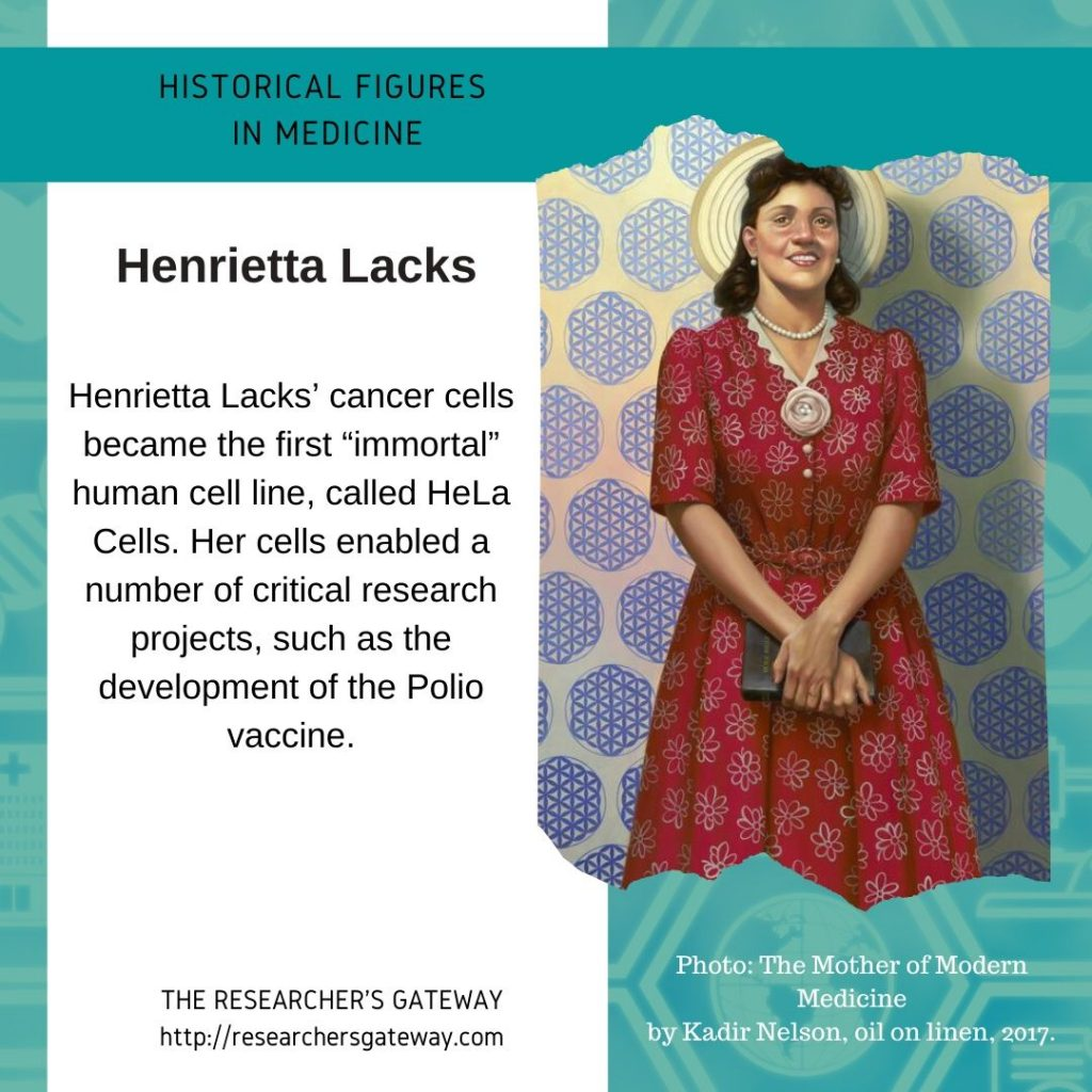 "Henrietta Lacks' cancer cells became the first ""immortal"" human cell line, called HeLa Cells."