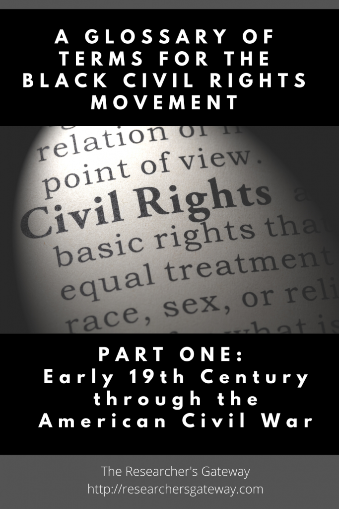 A Glossary of Terms for 19th Century Black Civil Rights. Part one of three.