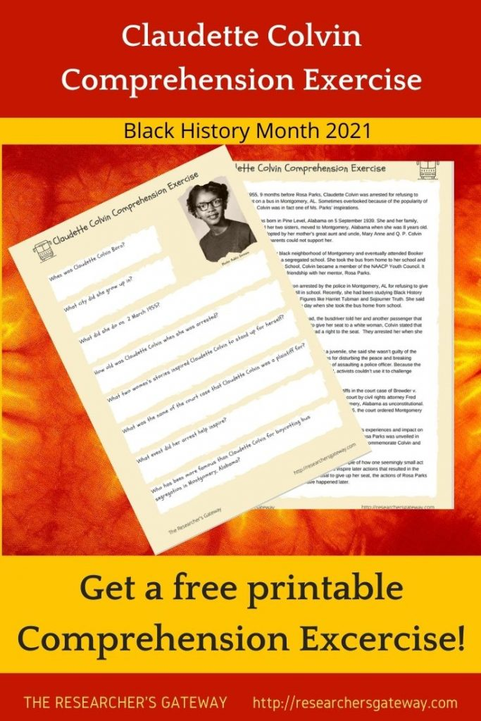 Free Printable Reading Comprehension Exercise on Claudette Colvin